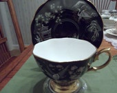 Rare handpainted black Oriental Royal Albert cup & saucer circa 1940's  -DR