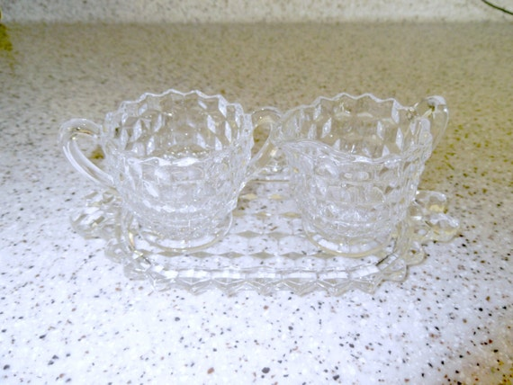 RESERVED for Lynda-   Clearance Sale-  American Fostoria 2056 pattern Mini Creamer & Sugar Bowl with Tray
