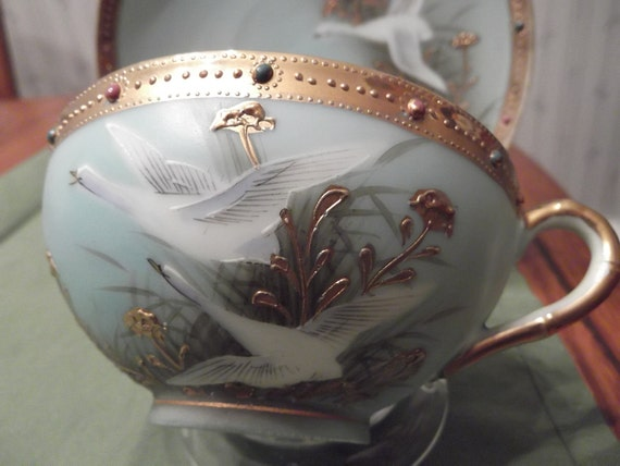 Handpainted beaded and jeweled cup and saucer by Nippon (maple leaf) circa 1890-1921-  DS