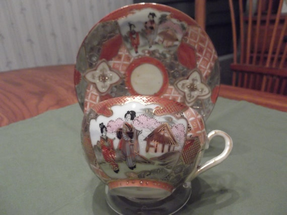 Handpainted Hand Decorated oriental scene cup and saucer circa late 1800's-  617R