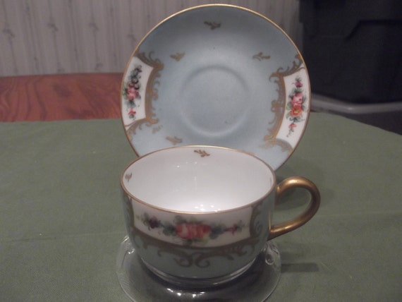 Handpainted Blue Limoges Demitasse cup and saucer by EG circa later 1800's  -664