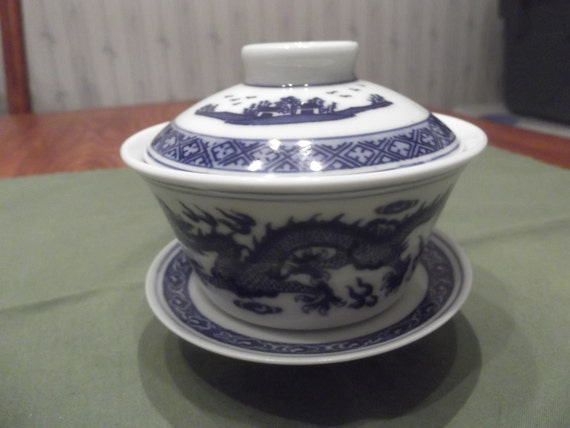 3 pc Oriental cup and saucer with lid  -DS