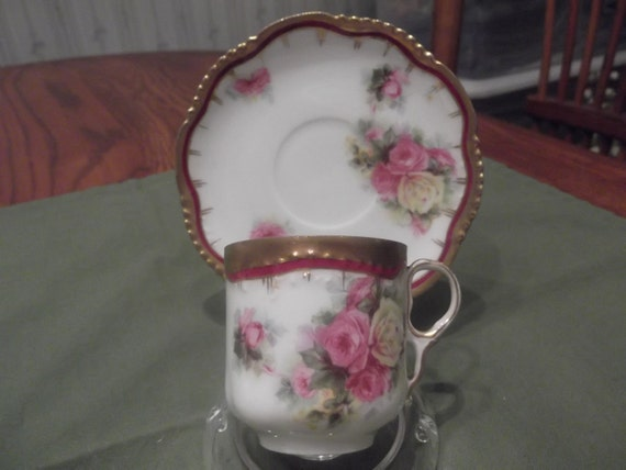 German Royal Wurtenberg hand painted Demitasse cup and saucer -709