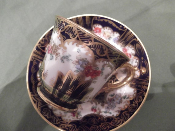 Hand painted Crown Staffordshire demitasse teacup and saucer- circa 1960's -713