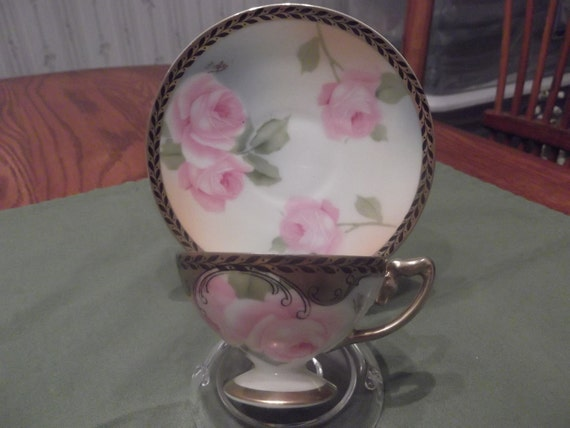 "Hand painted and signed ""Aigle"" Rosenthale demitasse teacup and saucer- circa 1898-1906  -712"