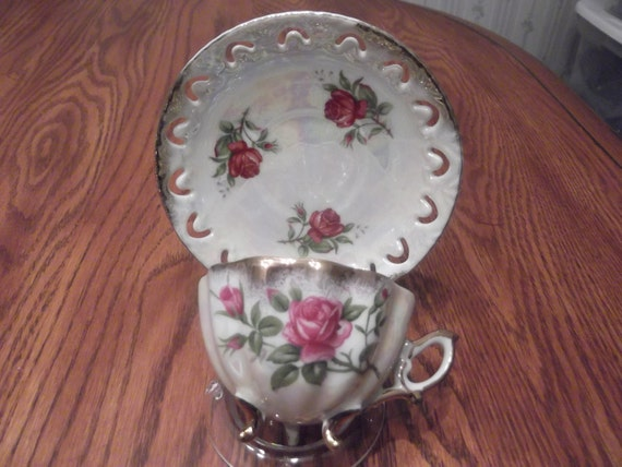 RESERVED for Moni-   Unknown 3 footed demi cup and saucer with red roses-  845