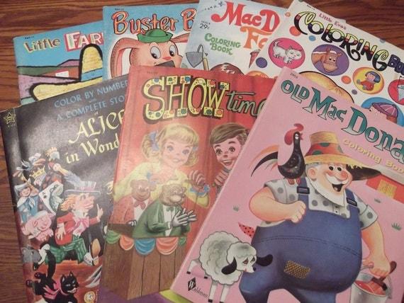 Seven Vintage Coloring Books-  DR