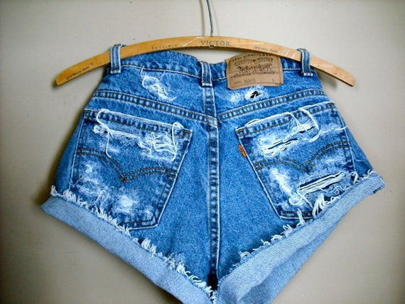 Levi Shorts: Distressed Super Ripped Hipster