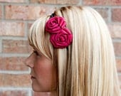 Double Ribbon Rosette Headband with Berry Pink Accents