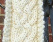 Cream 5 strand braid wool scarf