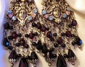 Art Nouveau Chandelier Earrings- Garnet and Black Glass, Floral Victorian Maiden Chandelier Earrings- Art Nouveau, Lady Goddesses- MTO