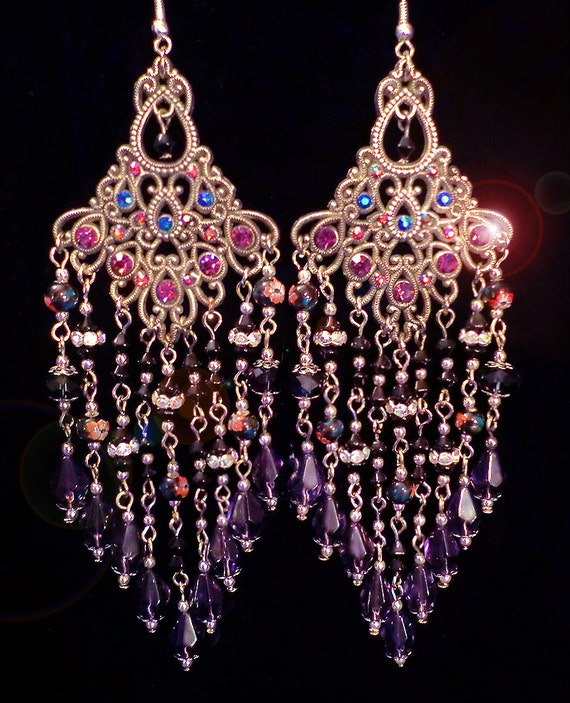 Fancy Violet and Black Glass Gothic Chandelier Earrings-MTO