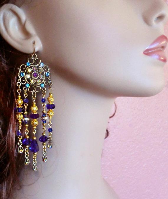 Reserved for Elizabeth- Indigo Crystal Prom Chandelier Earrings