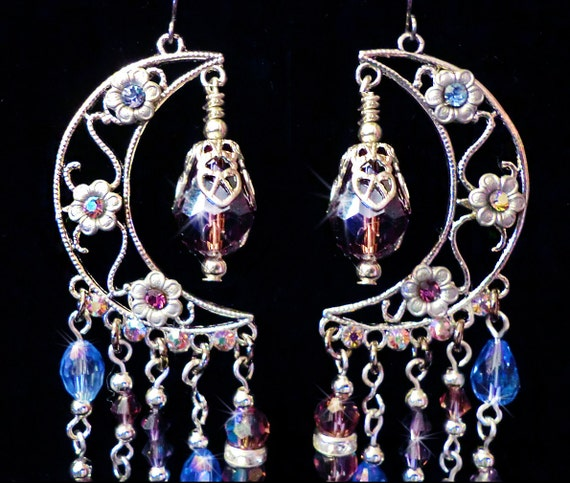 Mystical Sparkling Purple and Blue Crystal Floral Moon Chandelier Earrings