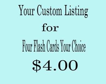 Four Custom Flash Cards - Your Choice of Words