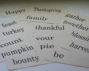 Flash Cards Vintage Look - Thanksgiving - 16 count