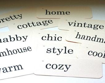 Retro Flash Cards Vintage Look - Cottage Theme - 12 count