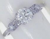 Platinum Art Deco Diamond 1.13cts (EGL cert H VS2) Engagement Ring, Circa 1920