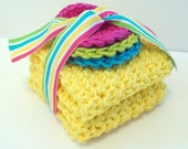 Crochet Dishcloths Washcloths - Set of 2 and 3 Scrubbies - For Kitchen or Bathroom - Yellow, Blue, Lime Green, Hot Pink - 100% Cotton