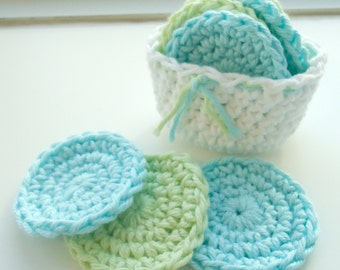 Crochet Scrubbies with Crochet Basket - Set of 7  - Aqua Blue, Soft Green, White - 100% Cotton