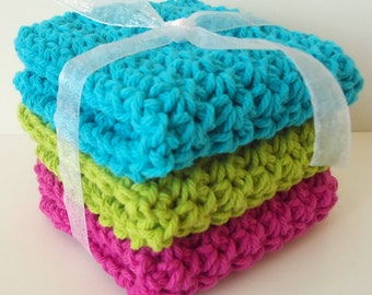 Crochet Dishcloths Washcloths - Set of 3 - For Kitchen or Bathroom - Turquoise, Lime Green, Hot Pink - 100% Cotton