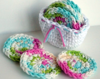 Crochet Scrubbies with Crochet Basket - Set of 7 - For Kitchen or Bathroom - Pretty Colors - 100% Cotton