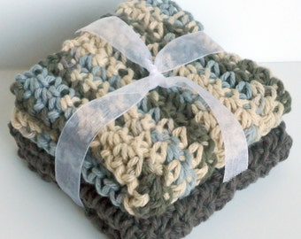 Crochet Dishcloths Washcloths - Set of 2 - For Kitchen or Bathroom - Slate Blue, Tan, Brown - 100% Cotton