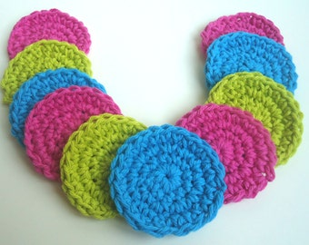 Crochet Scrubbies - Set of 10 - For Kitchen or Bathroom - Lime Green, Bright Blue, Dark Pink - 100% Cotton