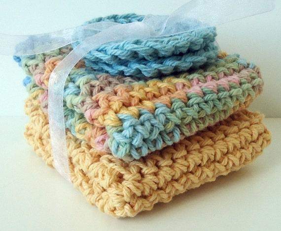 CLEARANCE - Crochet Dishcloths Washcloths - Set of 2 plus 2 Scrubbies - For Kitchen or Bathroom - Pastels - 100% Cotton