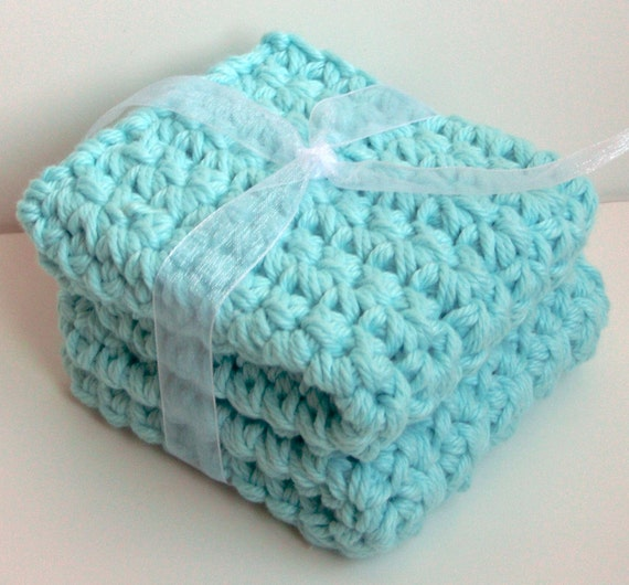 CLEARANCE - Crochet Dishcloths Washcloths - Luxurious & Thick  - Set of 2 - For Kitchen or Bathroom - Aqua Blue - 100% Cotton