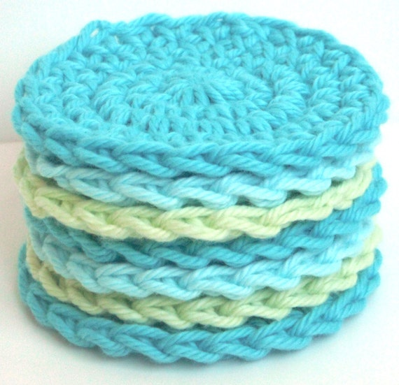 Crochet Scrubbies - Set of 7 - For Kitchen or Bathroom - Aqua Blue, Turquoise, Honeydew Green - 100% Cotton