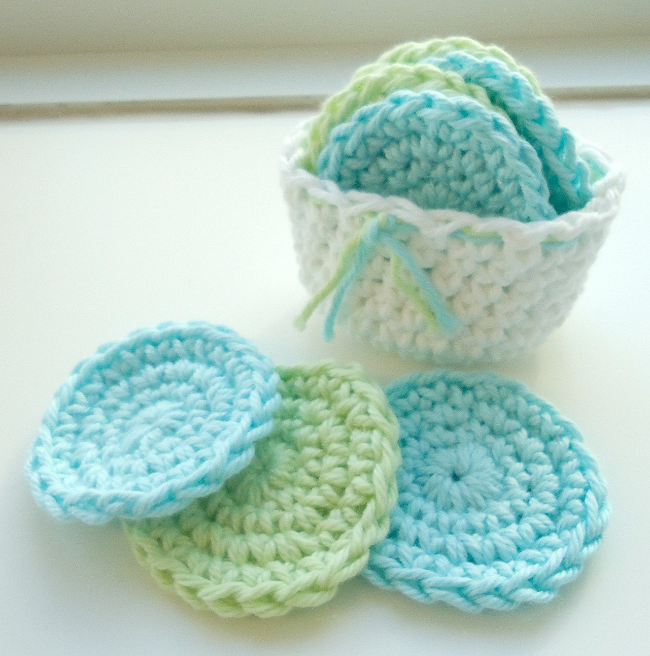 Srubby For Kitchen: Crochet Scrubbies With Crochet Basket Set Of 7 Aqua Blue