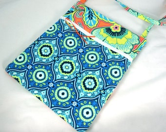 Hipster Bag, Cross Body Bag, Small Purse in Bright Blue, Green, and Orange Florals