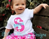 Personalized and Appliqued Girls Initial and Name Shirt with Hot Pink Polka and Turquoise - Perfect for birthdays