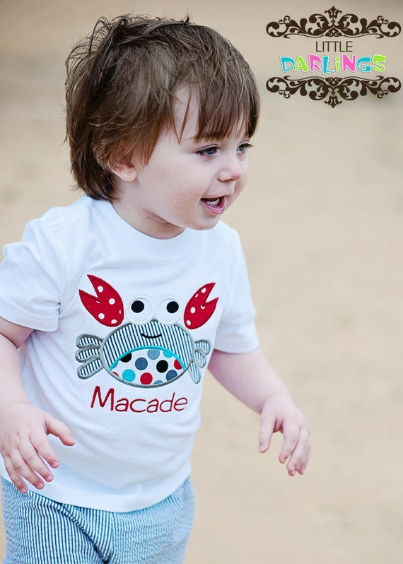 Whimsical Crab Appliqued and Personalized Boys Shirt or Onesie