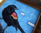ORIGINAL - Blackbird Painting - Red Winged Blackbird Perched in a Blue Sky- Framed Mixed Media Altered Book Page