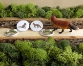 """Fox Pins - Red Fox Pins - Red Fox Pair - Fox Buttons - Fox Brooch - Animal Pinback Button Badges - 1.5"""" - From Natural Duality"""