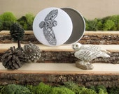 "Barn Owl pocket mirror 3.5"" - Feathered Flight"