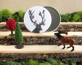 "Woodland Pocket Mirror 3.5"" - Elk and 6 Red Cardinals"