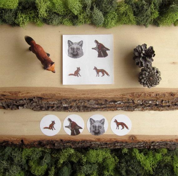 Fox Sticker - Illustrated Fox Stickers - Round Animal Stickers - Set of 4 - Letter Seals