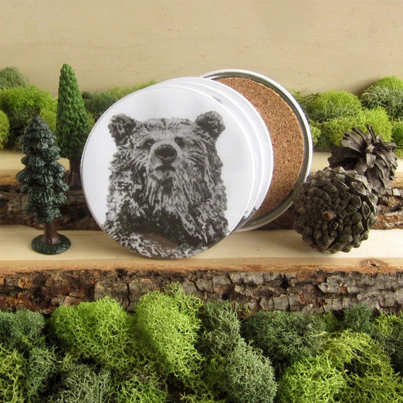Bear Coasters - Bear Home Decor - Gift for Bear Lover - Grizzly Bear Drawing - Cork-Bottom Coaster Set - Grizzly Bear