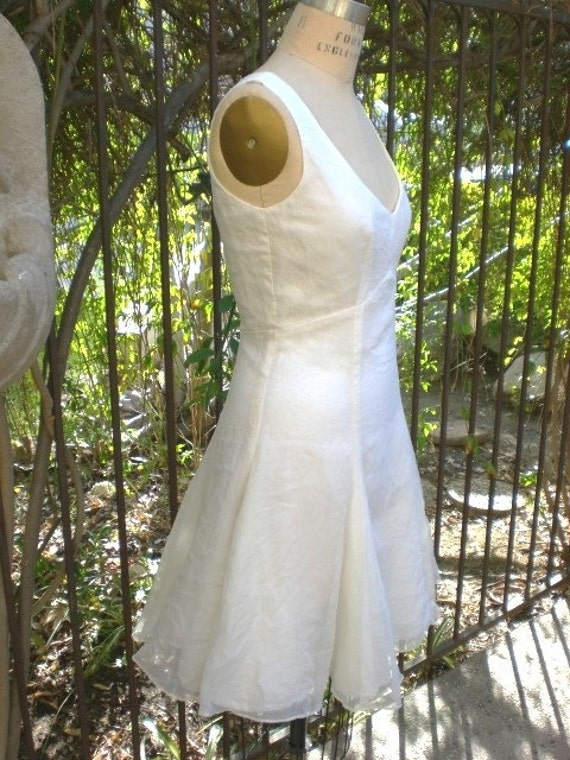 Daytime Fit and Flare Short Silk Wedding Dress made to order