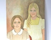 Vintage Large Oil Painting Portrait: Two Sisters 1969
