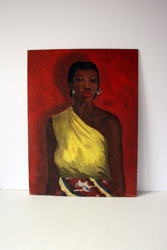 vintage portrait painting - woman in yellow: mighty finds