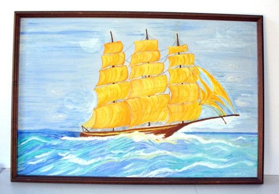 vintage folk art ship painting