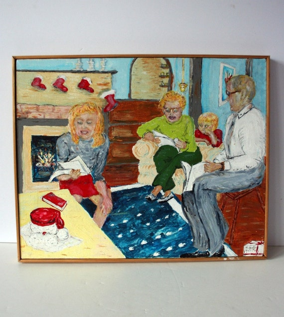vintage painting: folk art Christmas family
