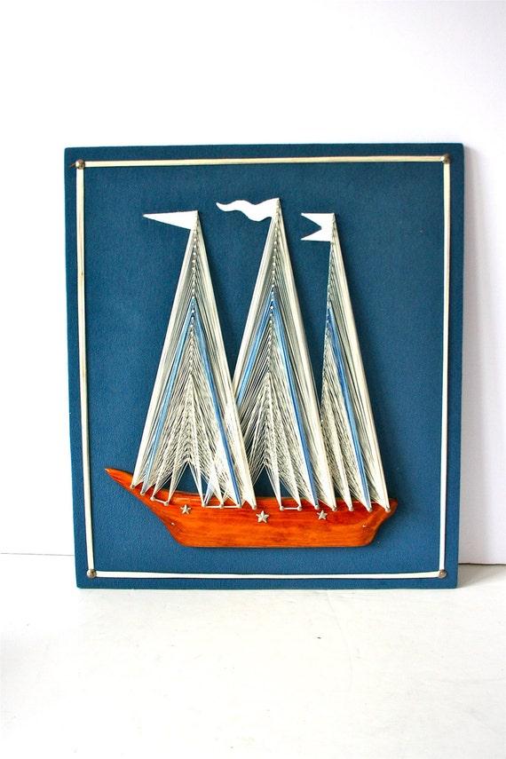 vintage string art sailboat