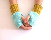 Fingerless Gloves, Wrist Warmers in Mint and Mustard Yellow