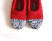 SALE 20% OFF - Crochet Slippers in Red, Black & White