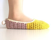Crochet House Slippers with Felt Pom Pom, Mustard Yellow Pale Lavender